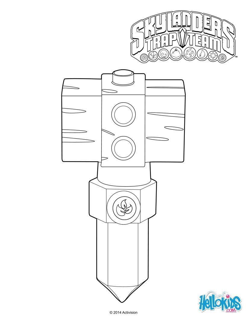 Free coloring pages for skylanders - Life Hammer Crystal Trap Coloring Page