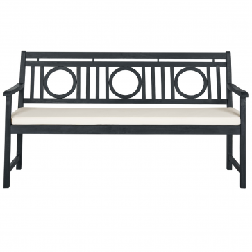 Safavieh Montclair 3 Seat Bench Dark Slate Grey Wooden Garden Benches Outdoor Garden Bench Beige Cushions