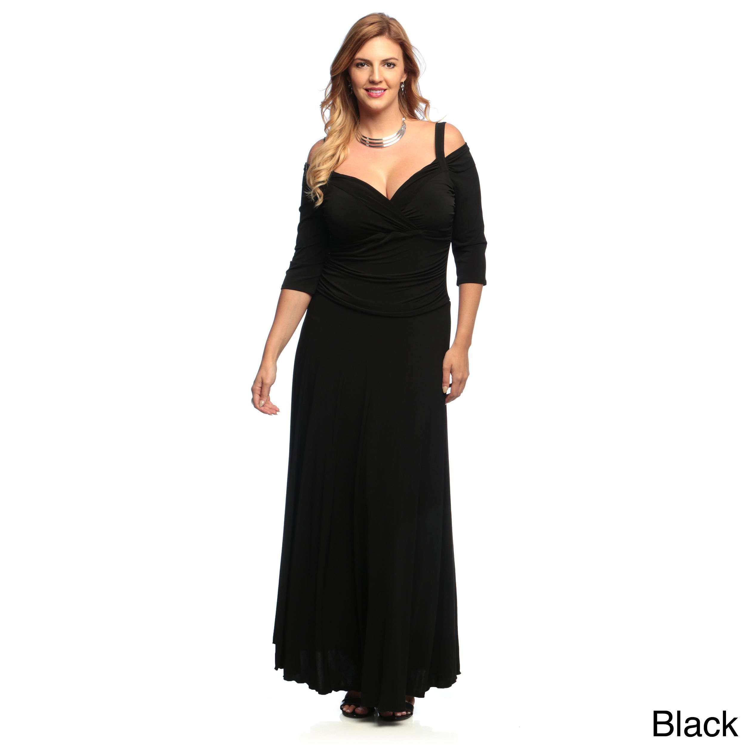 Black long sleeve wedding dresses  Evanese Womenus Plus Size sleeve Long Dress  Products