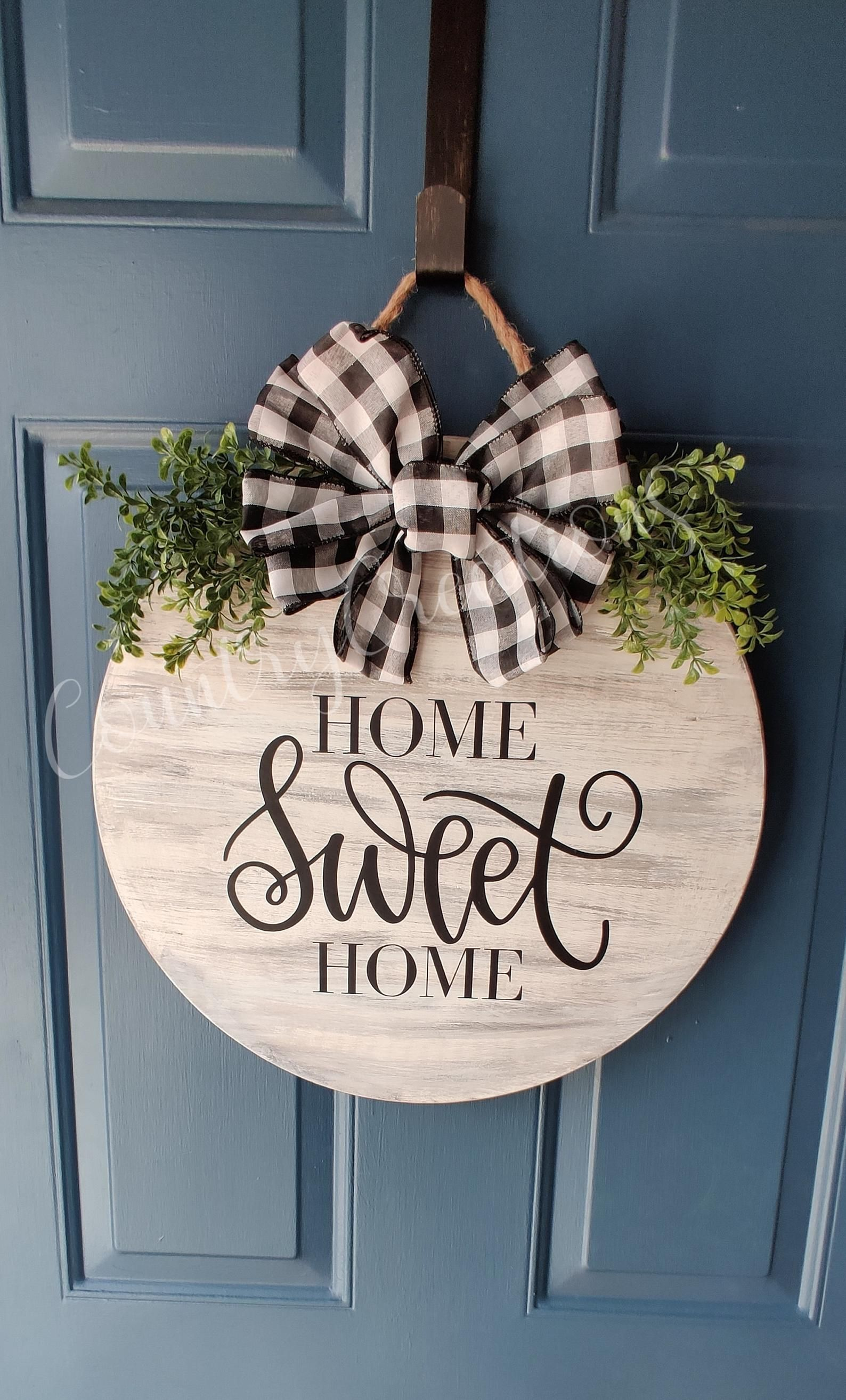 Door Decorationhome Sweet Home Round Front Door Sign Wood Etsy In 2020 Door Signs Diy Welcome Signs Front Door Front Door Decor