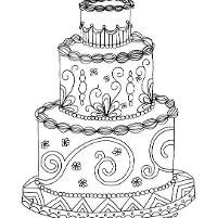 Wedding cake adult coloring page (With images) | Johanna ...