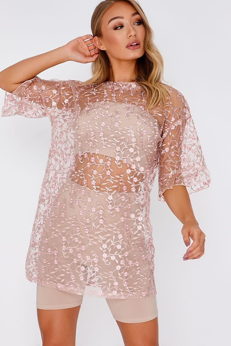 78e6f4625692 Dusti Pink Floral Mesh Oversized T Shirt Dress. Next day delivery available  until 10pm. Order Now!