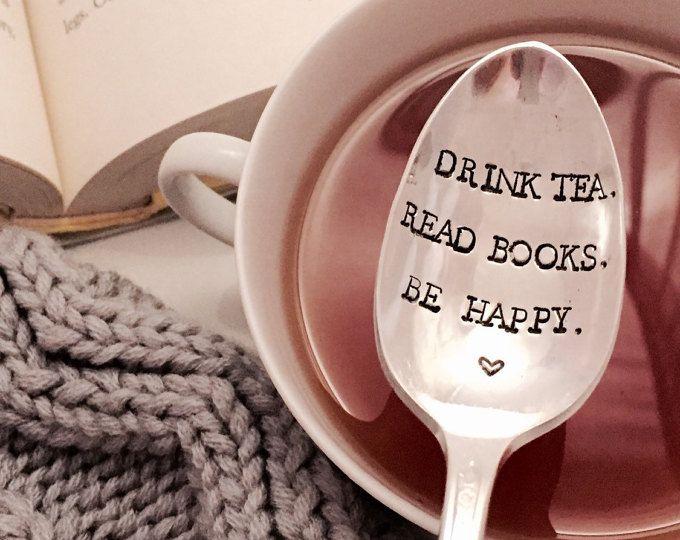 Drink tea, read books, be happy stamped spoon, book club gift, book lover gift, tea lover gift, unique tea spoon
