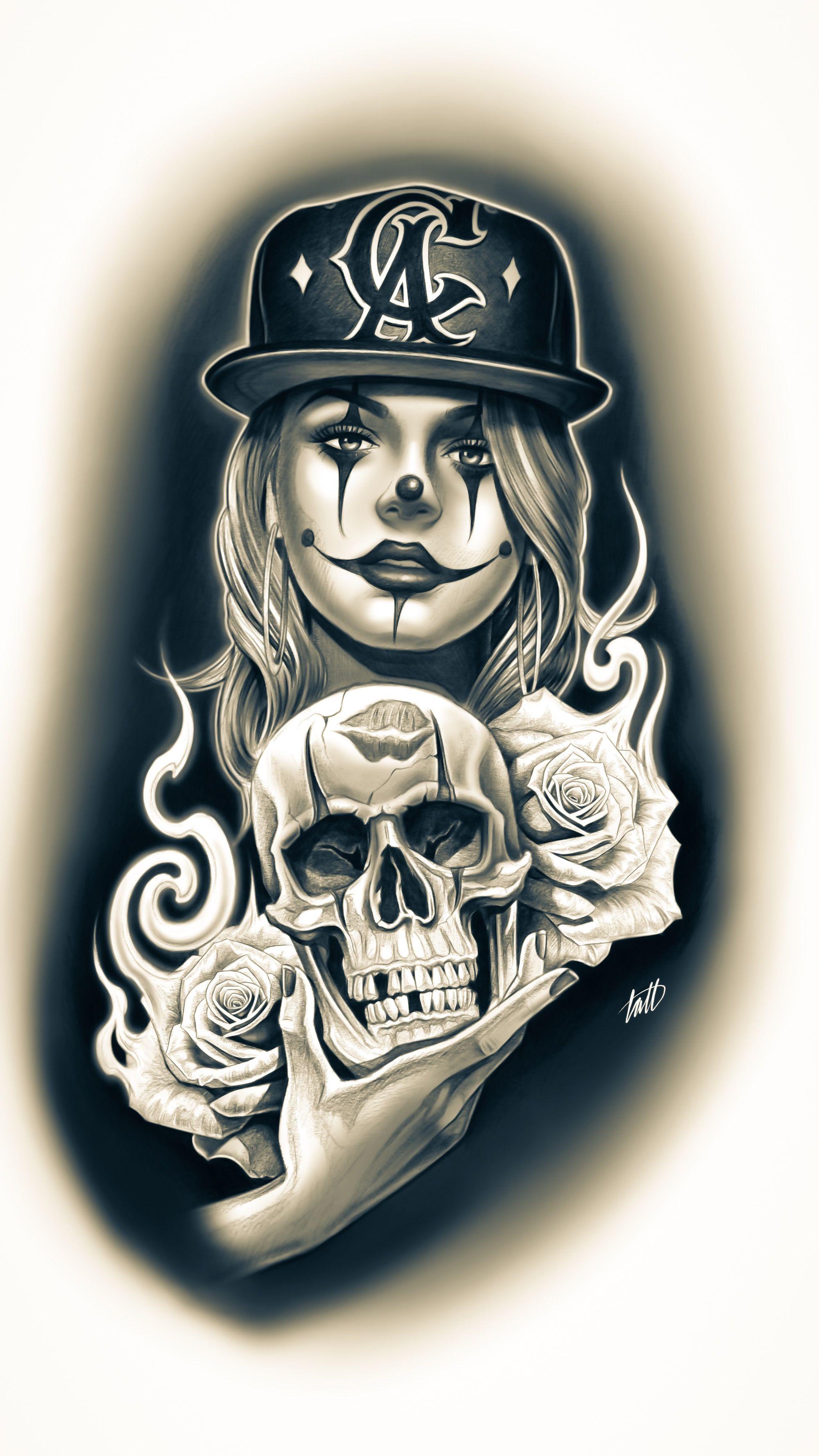 Done On Ipad Design For Tattoo Tattoo Chicanoart Clowngirl Skulls Chicano Drawings Chicano Art Lowrider Art