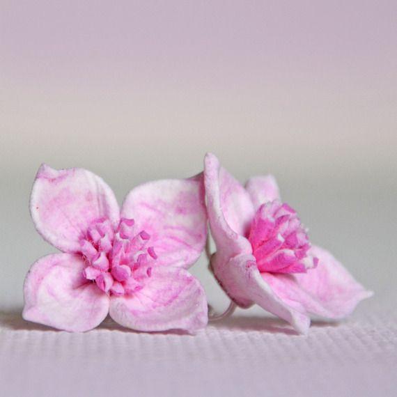 Boucles d'oreille - fleurettes mignonnes de l'ete: Rose N°6