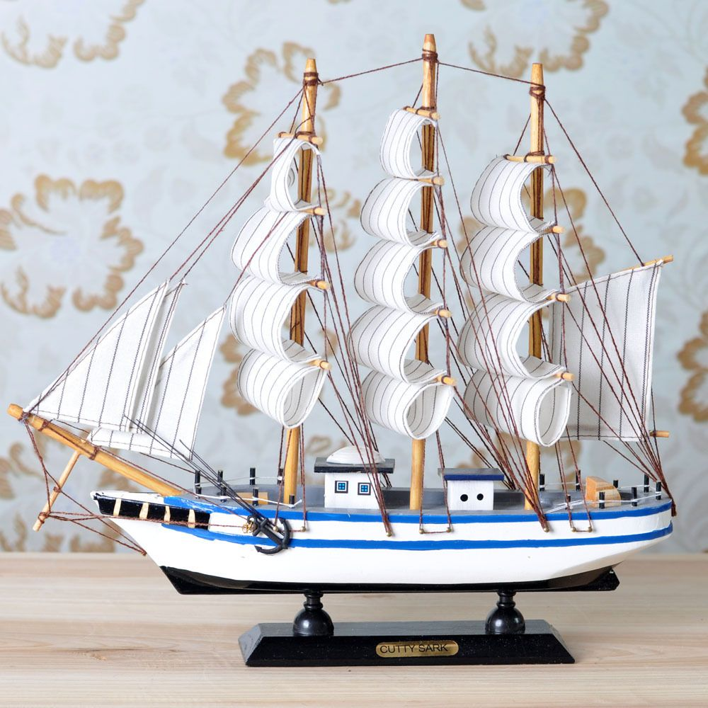 Sailing Boat Wool Handmade Wooden Model Decoration Home Small Ship Technology