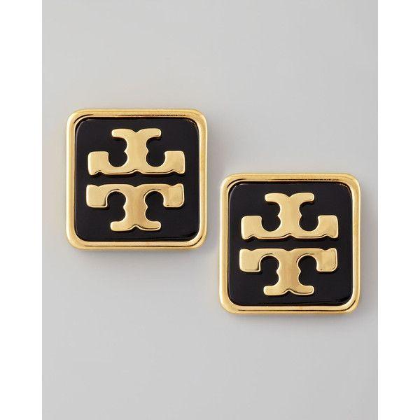 Tory Burch Enamel Square Logo Stud Earrings, Black ($68) found on Polyvore