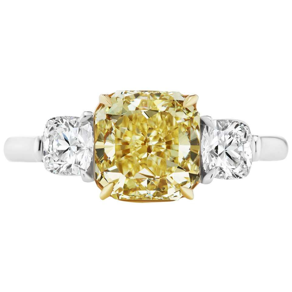 Scarselli carat yellow radiant cut diamond engagement ring gia