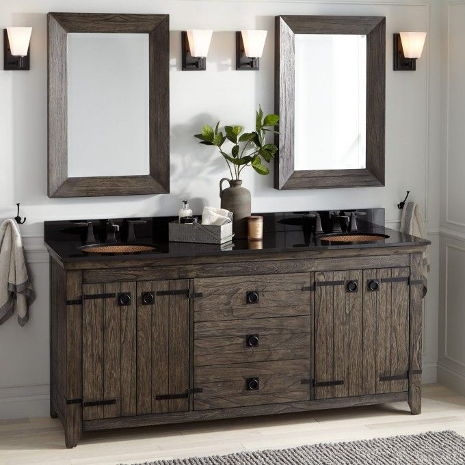 72 Kane Double Vanity For Undermount Sink Rustic Brown With
