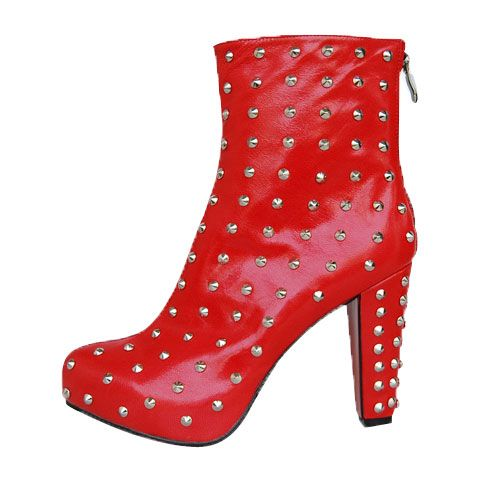 16cc8f227696 Red Christian Louboutin Ariella Clou Silver Studded Boots