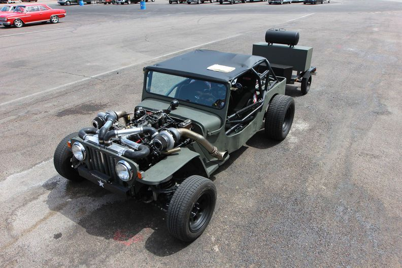 Twin Turbo Jeep Rat Rod Trap At Drag Weekend West 2016 Video