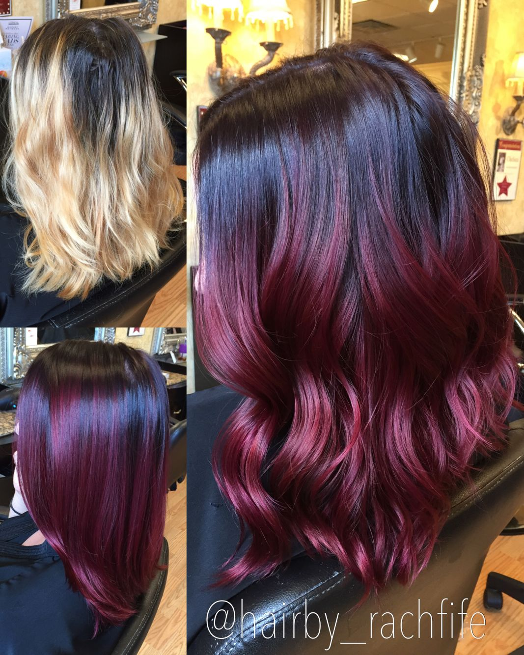Red mermaid hair transformation red violet color created using