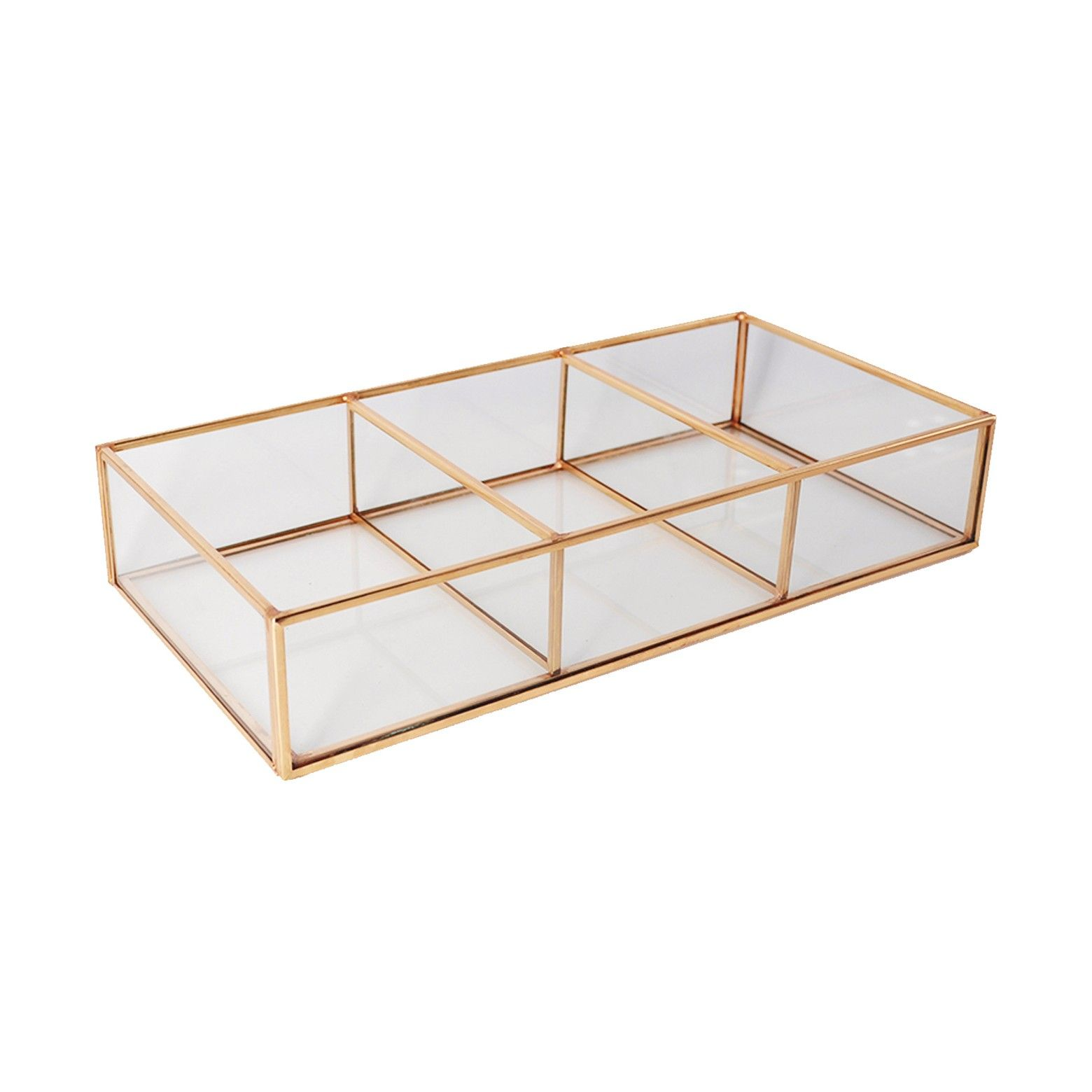 Glass and metal compartment vanity tray threshold projects to