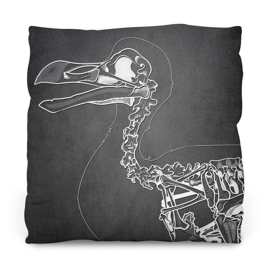 Dront Skeleton on Black Outdoor Throw Pillow