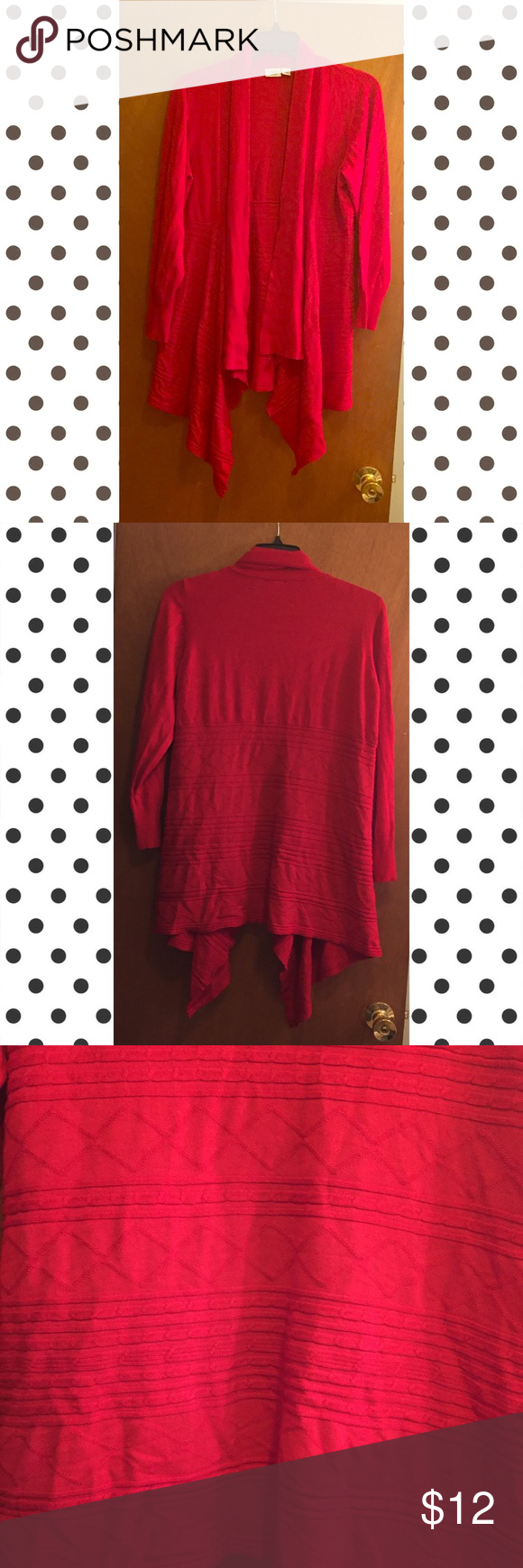 Red Sweater Cardigan Size 18/20. Very pretty detailing on the back ...