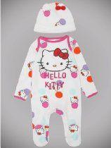 Newborn Baby Girl Hello Kitty Character Polka Dot Long Sleeve Sleepsuit And Hat Set