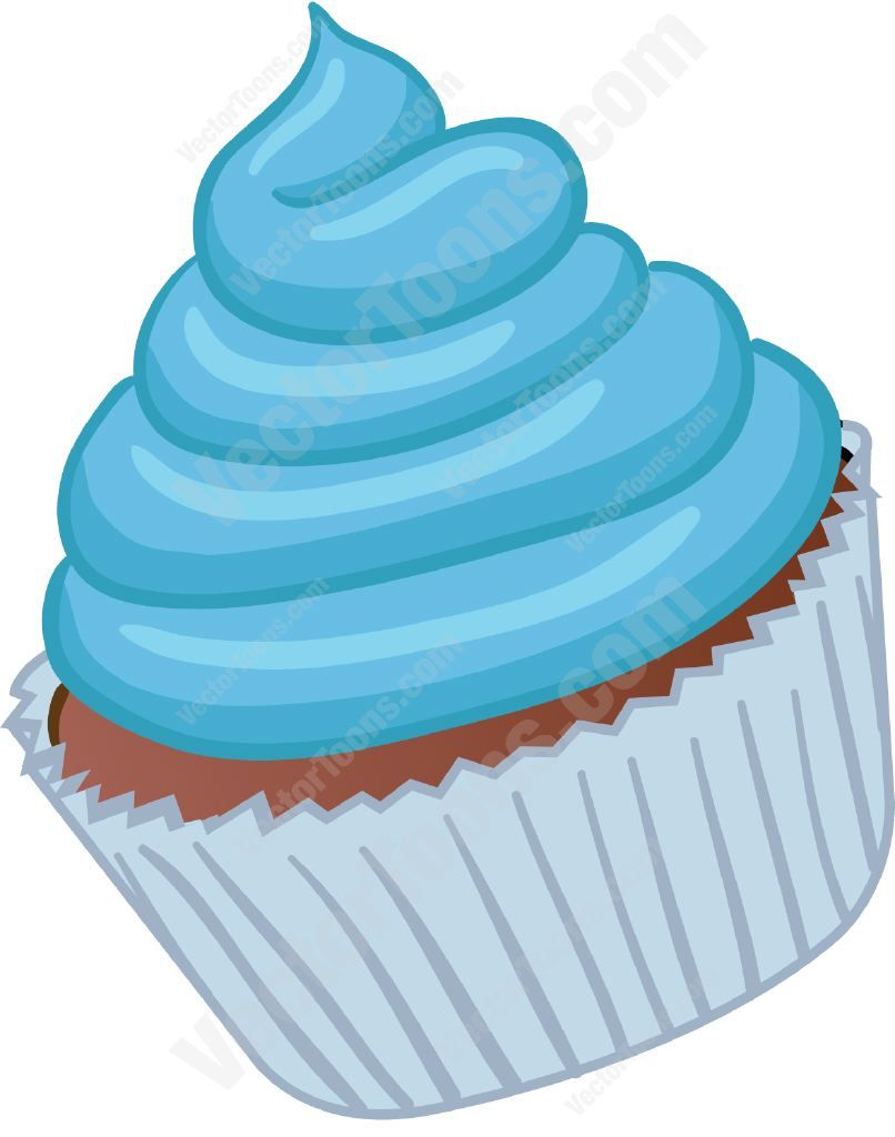 Cupcake With Blue Swirled Frosting Frostings