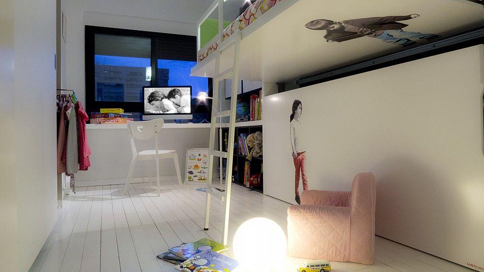 Dormitorio infantil ni o a con literas abatibles armarios y escritorio sistema avatar ni as Habitaciones dobles para ninos