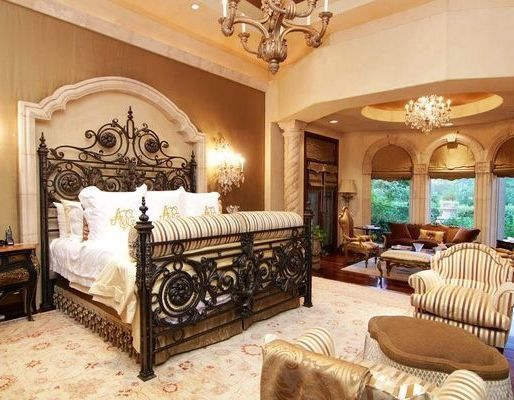 Tuscan inspired bedroom, love the headboard and wall treatment ...