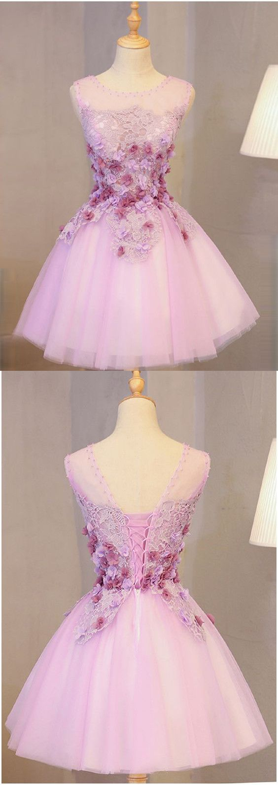 Pink scoop homecoming dress aline cute lace short homecoming