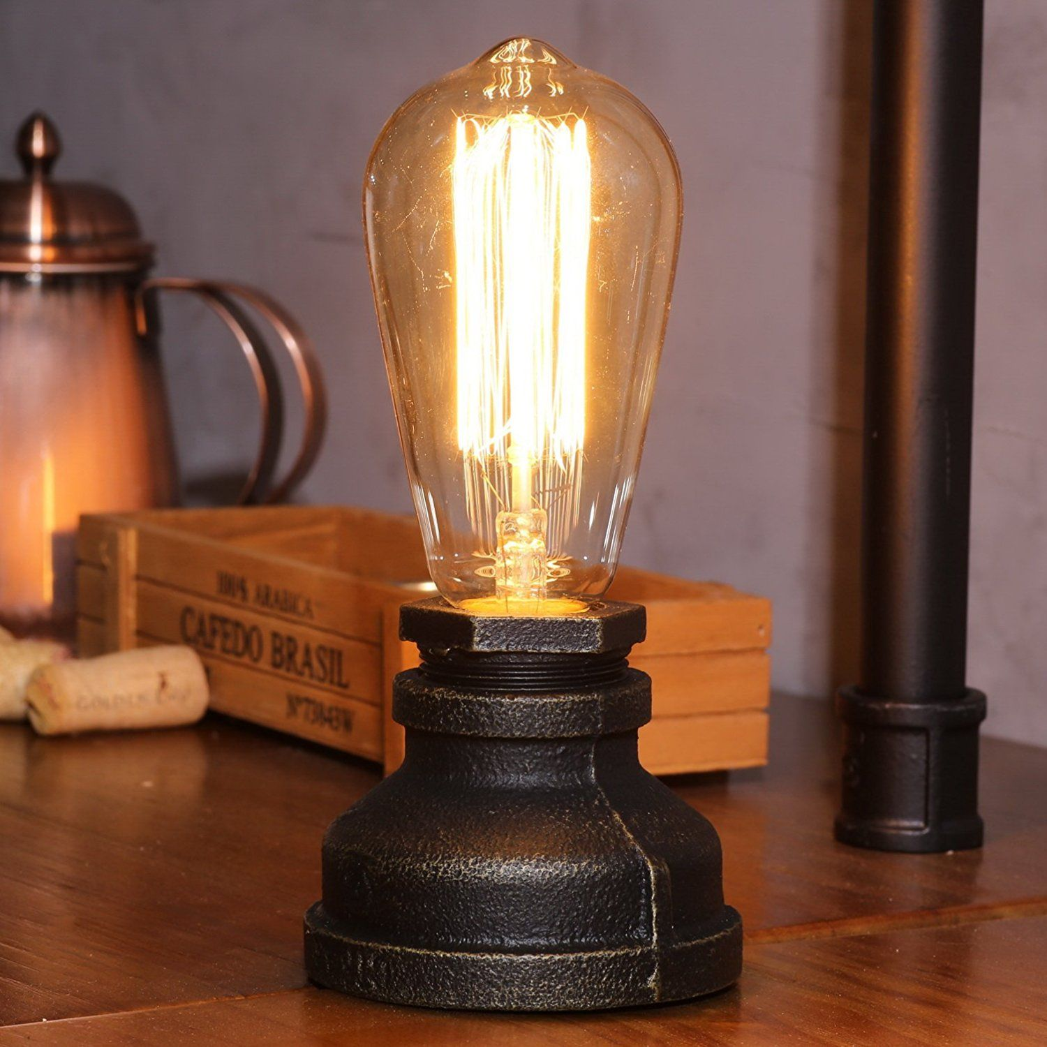 Amazon Com Kiven Steampunk Table Lamp Ul Certification Button Switch Cord Vintage Style Desk Light E Steampunk Lamp Steampunk Table Lamp Industrial Table Lamp