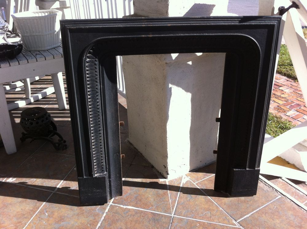 FIREPLACE SURROUND ANTIQUE CAST IRON SALVAGED FROM CHARLESTON SC ...