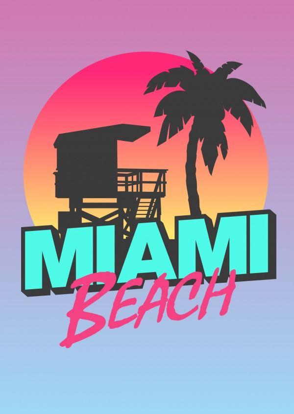 Miami Beach T Shirt Design