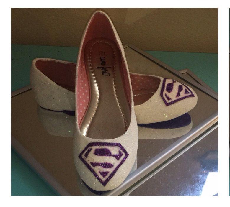 Sparkly Superman IVORY Glitter Or WHITE CHOOSE Color Handmade Ballet Ballerina Flats Shoes Wedding