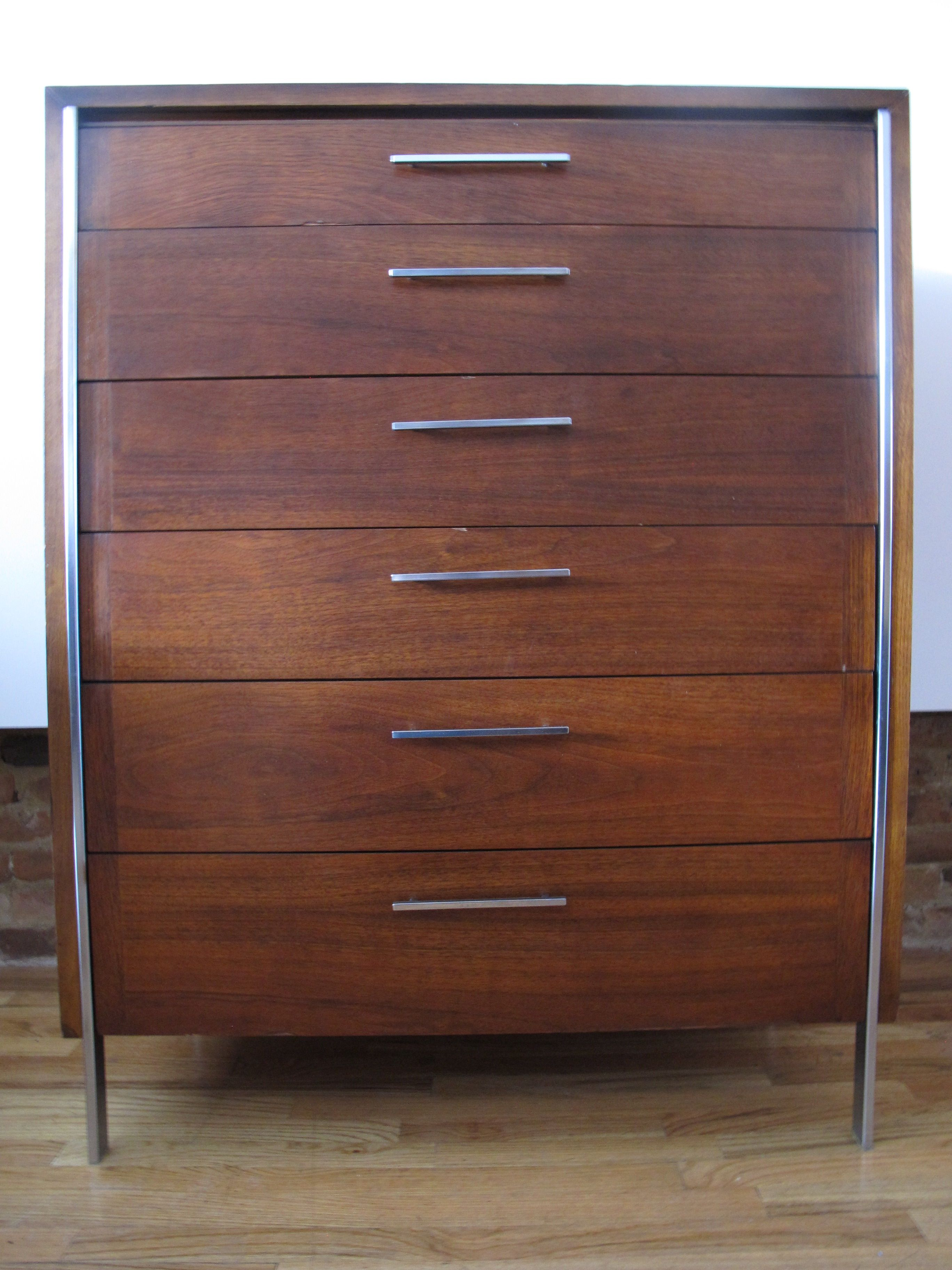 Mid Century Walnut And Chrome Tall Dresser By Lane