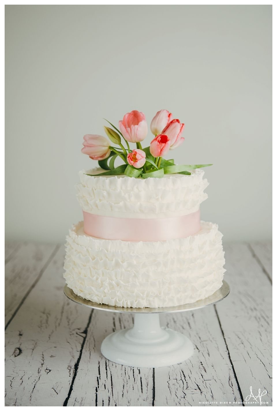 Ruffled Fondant Two Tiered Wedding Cakes / S\'more Cake / Lincoln ...