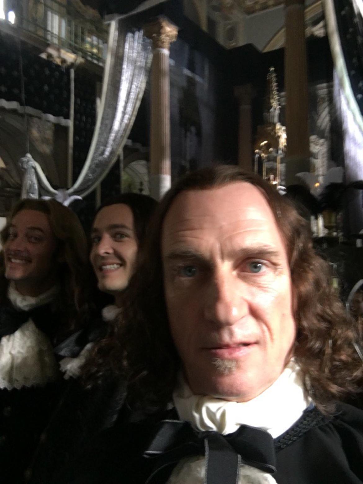 Evan Williams, Alexander Vlahos & Stuart Bowman on the set