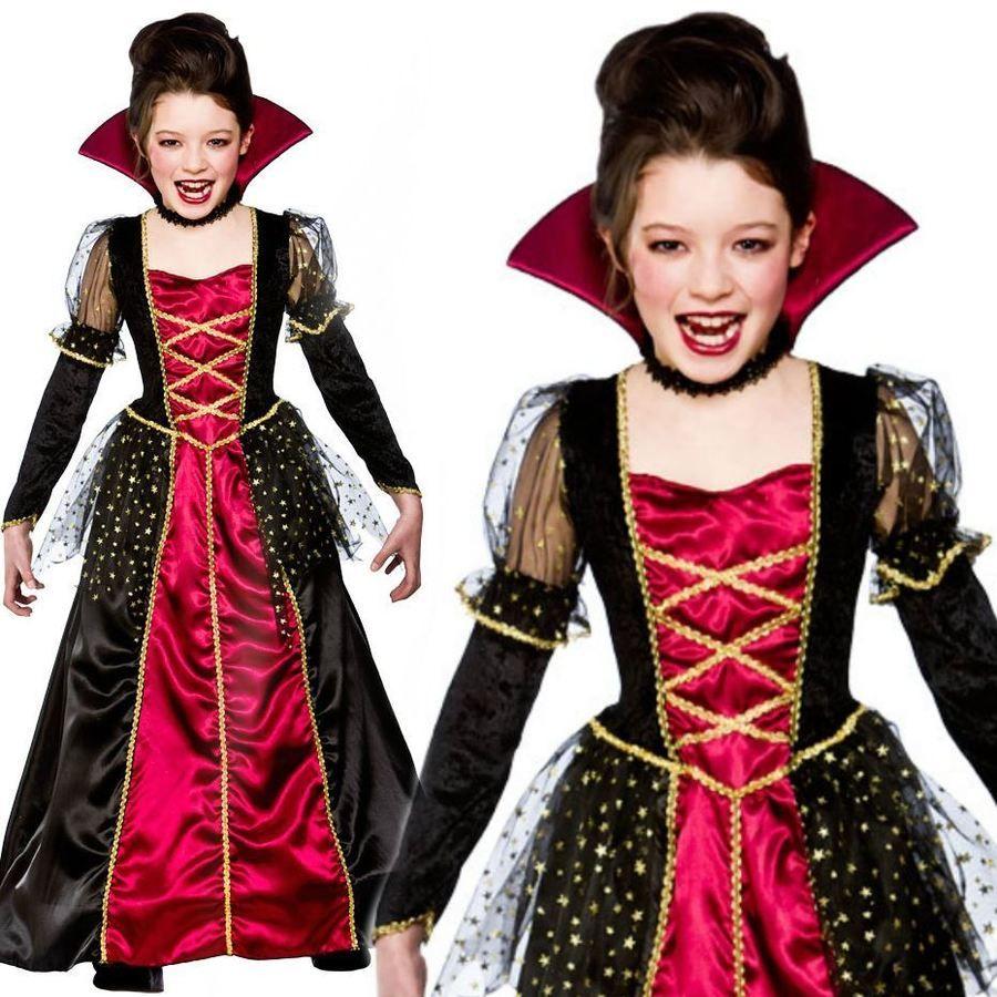 GIRLS GOTHIC VAMPIRE COSTUME Girls Halloween Dracula Vampire Fancy Dress Outfit