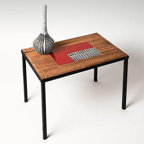 Mid-century Side table - Bamboo and Roger Capron's ceramic tiles http://www.galerieriviera.com