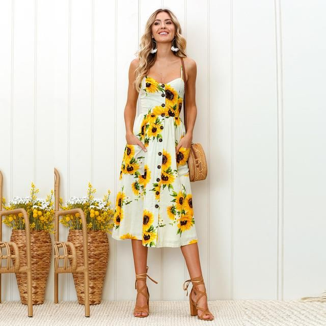 069a78028ed0 Boho Floral Print Summer Dress Women V Neck Pockets Sleeveless Midi Dresses  Female Sunflower Pleated Backless Button Sexy Dress