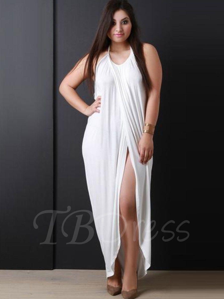 Plus Size White Halter Women S Maxi Dress Plus Size Maxi Dresses Fashion Womens Maxi Dresses [ 1200 x 900 Pixel ]