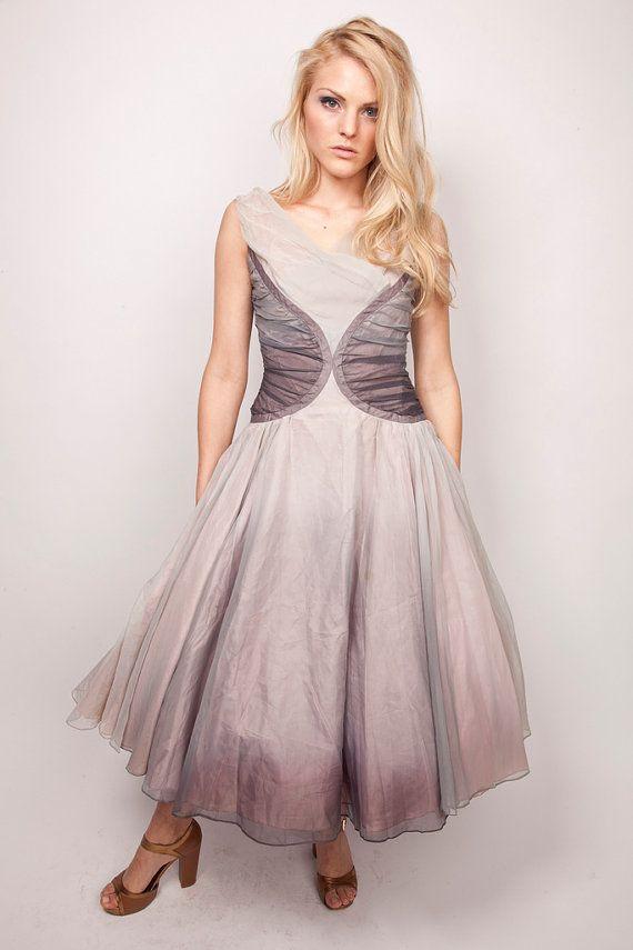 RESERVED - 1950s Couture Wedding Dress / Vintage Smokey Grey / Lavender Purple / Princess 0345