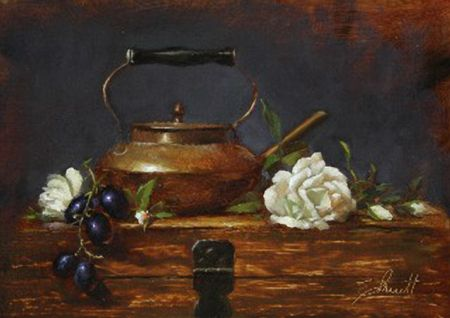Artist Elizabeth Pruitt | Little Brass Tea Pot with White Roses