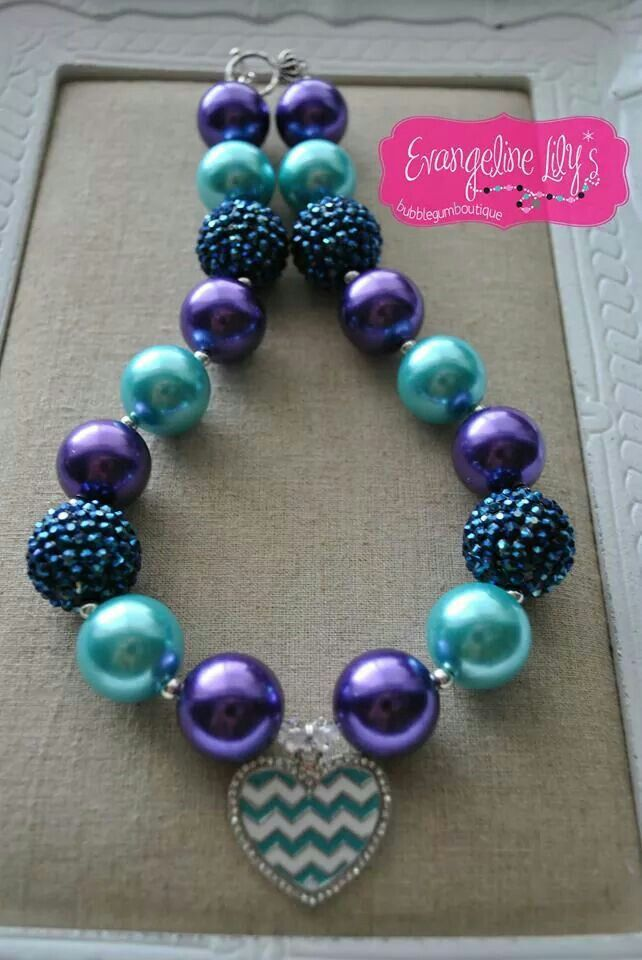 Teal and Purple Chunky Bead Necklace