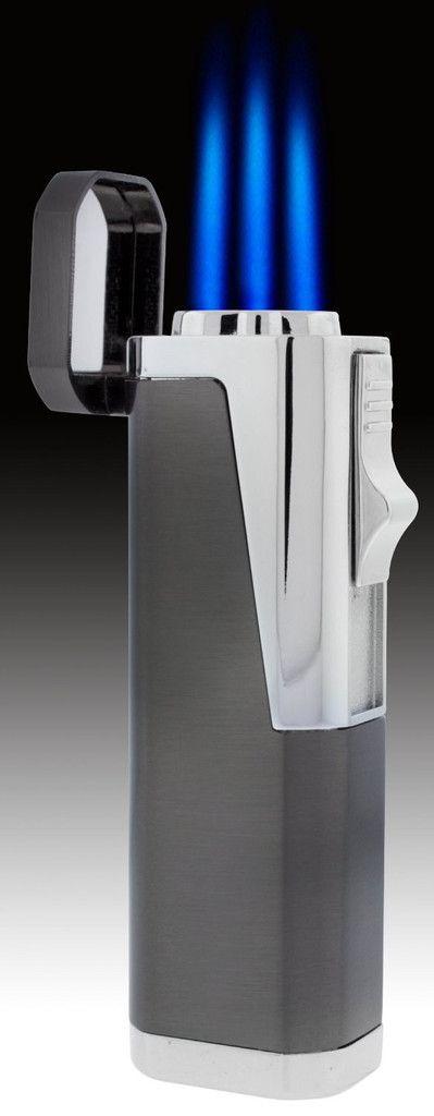 Eternity Pillar Triple Blue Jet Torch Cigar Lighter Grey Chrome w Punch Cutter