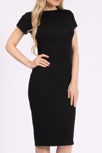 Missfiga Alisha Black Cap Sleeve Midi Dress 12 95 Http Www