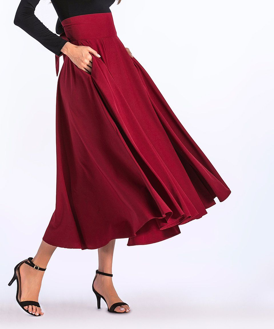 7d7e41b4a533 Take a look at this Red Pocket Pleated Midi Skirt - Women today ...