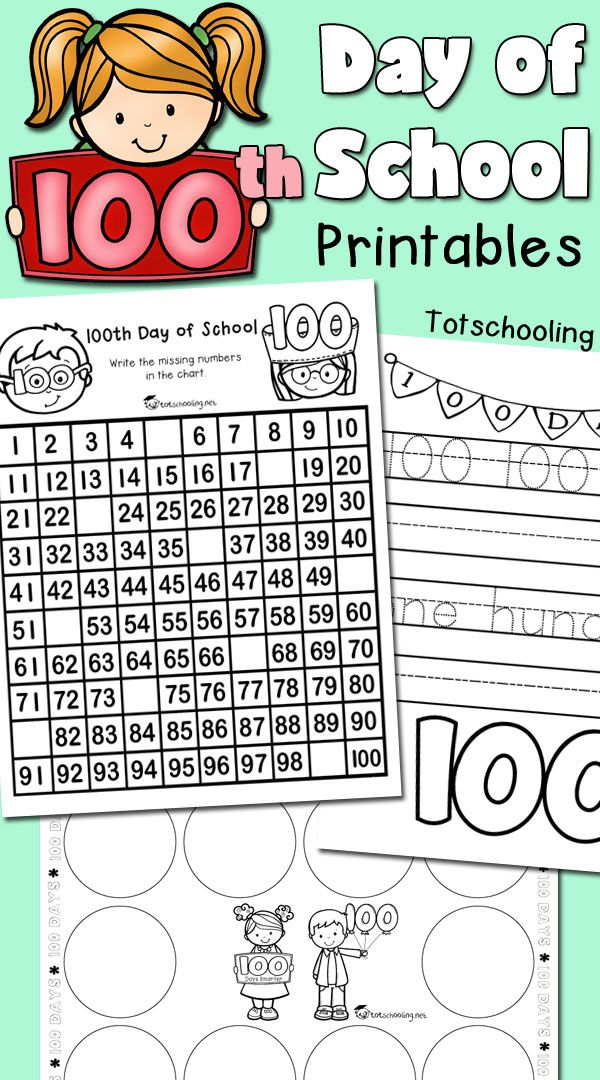 100th Day Of School Printables 100 Day Of School Project 100th Day Of School Crafts 100 Days Of School Project Kindergartens