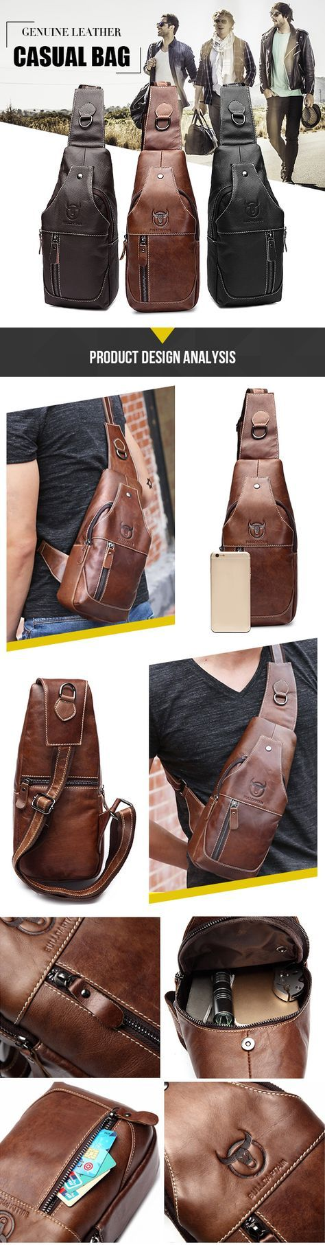 Bullcaptain Men Genuine Leather Business Casual Chest Bags