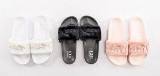 ffca4225b5fb shoes girl girly girly wishlist puma puma slides slide shoes fur white  black pink tumblr rihanna pumas