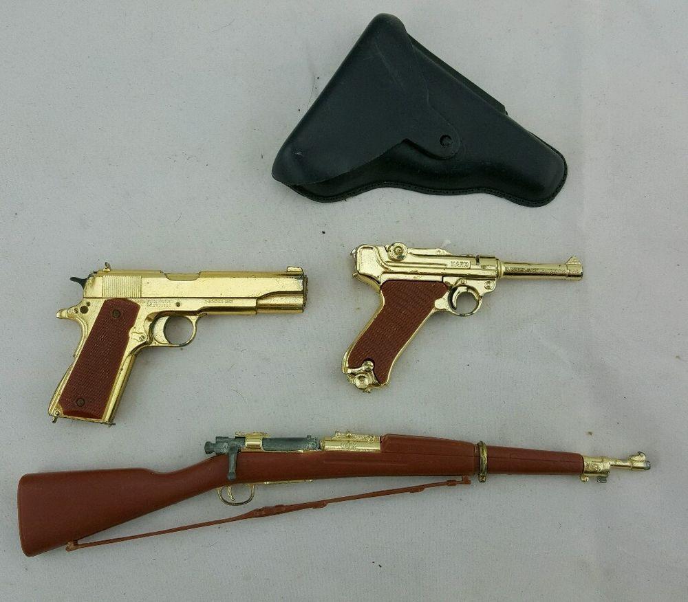 3 Rare Old Vintage Miniature Toy Pistol Gun & Rifle Collection Marx Gold