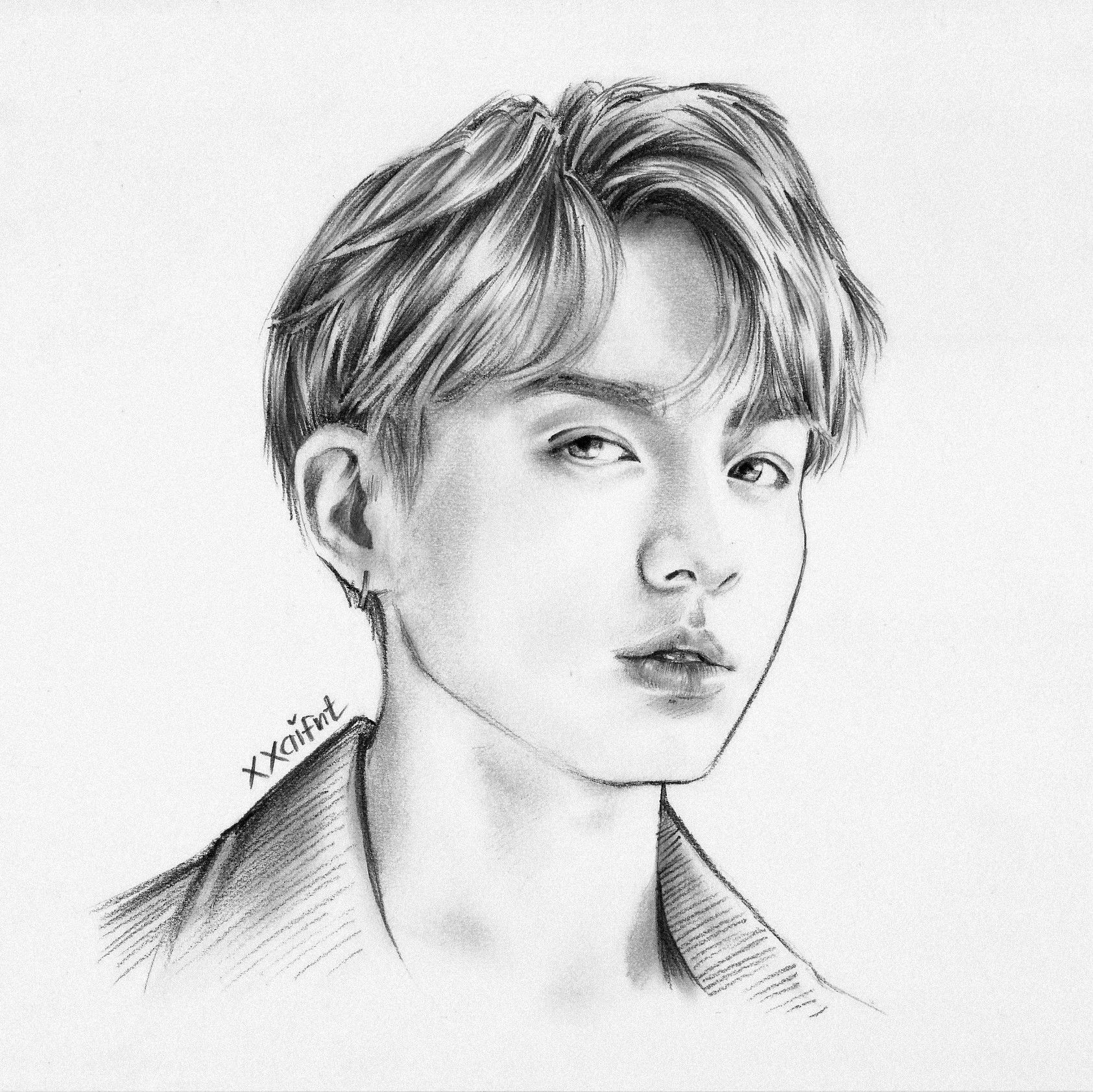 Jungkook DNA Drawing Graphite Drawing/sketch Scanned Version | BTS Fanarts In 2018 | Pinterest ...