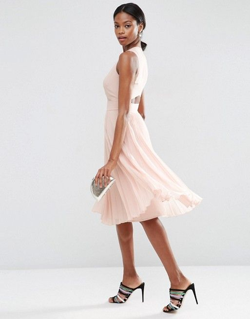 ASOS | ASOS Sheer And Solid Pleated Midi Dress (mit ...