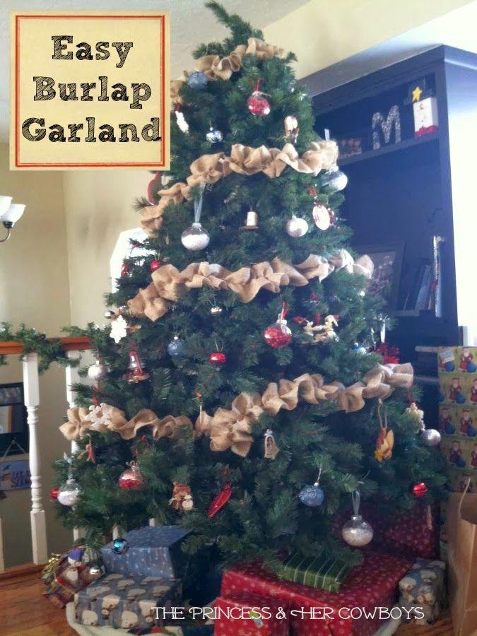 Easy Burlap Garland: The Princess & Her Cowboys #burlap #christmas #garland #decoration #easy #craft
