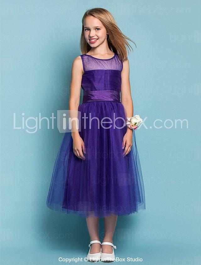 A-Line Princess Jewel Neck Tea Length Tulle Junior Bridesmaid Dress ...