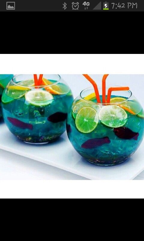 6 oz. Coconut Rum 6 oz. Vodka 4 oz. UV Blue Vodka 4 oz. Peach Schnapps 2L Sprite Nerds Candy Swedish Fish Candy Orange slices